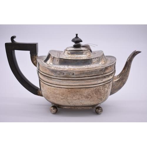 25 - <strong>An Edwardian silver teapot,</strong>by <em>Marston & Bayliss,</em>Birmingham...