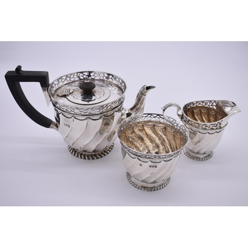 3 - <strong>A Victorian silver three piece teaset,</strong> by<em> Goldsmiths &</em> <em>Silversmith...