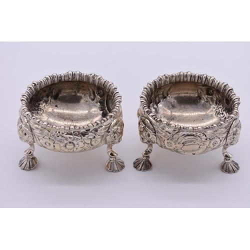 38 - <strong>A pair of Victorian repousse silver salts, </strong>by <em>James Dixon & Sons Ltd</em>, ...