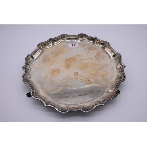 17 - <strong>A silver salver,</strong> by<em>George Edward & Sons,</em> London 1919, 31cm diameter,...