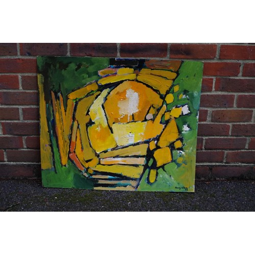 1632a - <strong>Frank Avray Wilson,</strong> untitled abstract, signed and dated '83, oil on cardboard, 64 x...