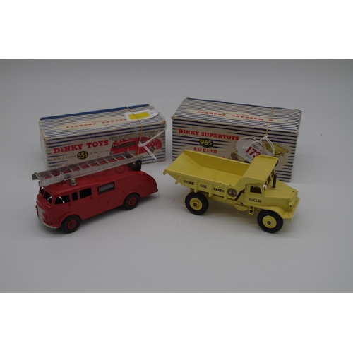 1591 - <strong>Dinky Toys:</strong>two vintage diecast vehicles, comprising:Euclid Rear Dump Truck No.965...