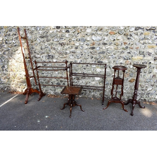 1004 - A reproduction stained beech newspaper stand, having brass mounts, 169cm high; together with five ot...