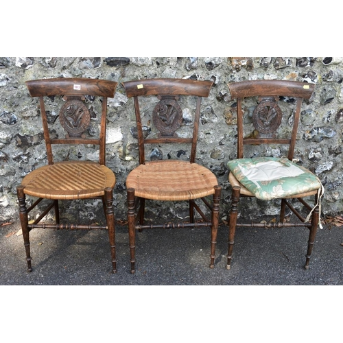 1013 - A set of three unusual faux grained and cane seat salon chairs. <strong>This lot can only be collect...