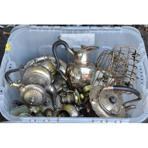 1032 - A quantity of silverplate and other metalware. <strong>This lot can only be collected on Saturd...