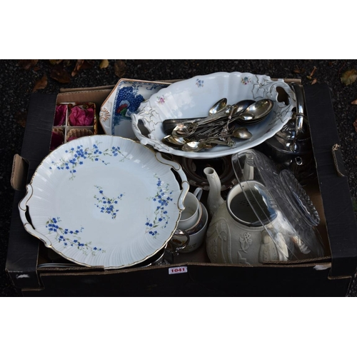 1041 - A carton of ceramics, glassware and silverplate.<strong>This lot can only be collected on Saturday ...