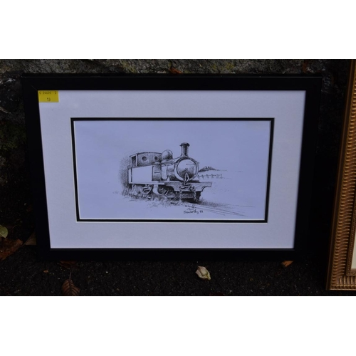 1042 - Three coloured prints of steam locomotives by Chris Woods; together with a coloured map of Sussex an...