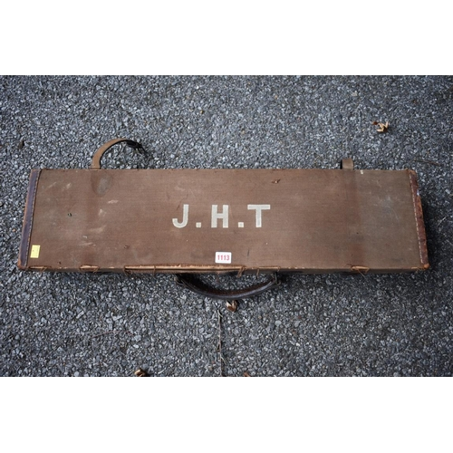 1113 - An old leather and canvas shotgun case.<strong>This lot can only be collected on Saturday 5th ...