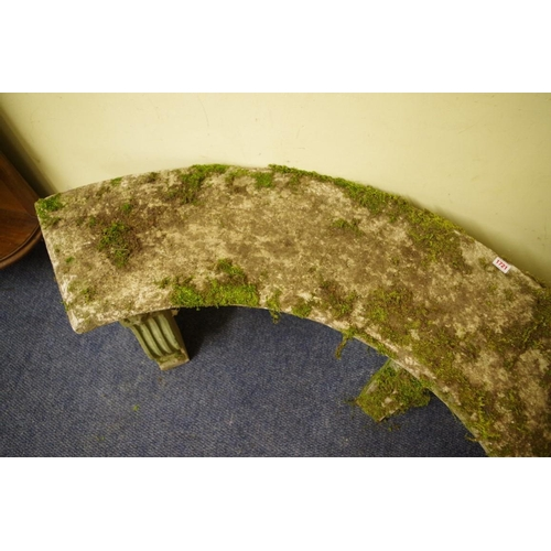 1721 - <strong>An old weathered composition stone curved garden bench, </strong>154cm wide. ...