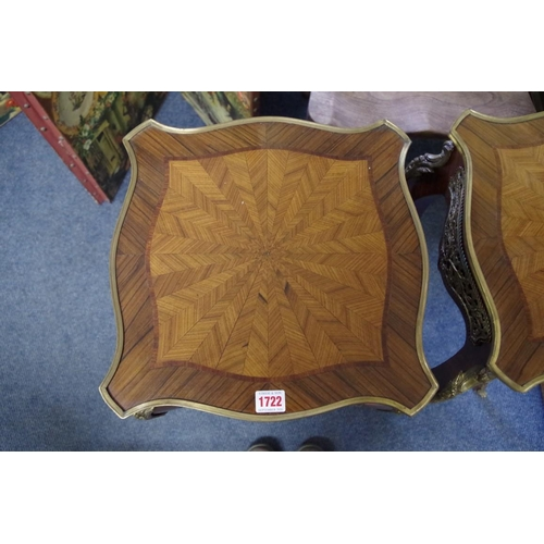 1722 - <strong>A pair of Louis XV style rosewood, kingwood and tulipwood banded gueridons,</strong>of shap...