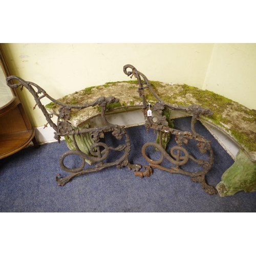 1729 - <strong>A pair of Victorian Coalbrookdale 'Hound and Serpent' cast iron bench ends, </strong>(s...