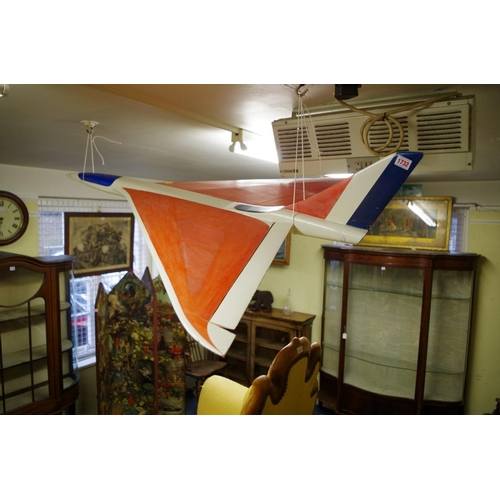 1732 - <strong>A vintage painted model of Concorde,</strong>143cm long....