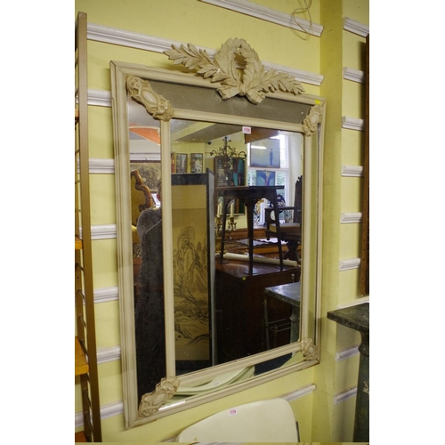 1735 - A large grey painted wall mirror,128.5cm high x 85cm wide....