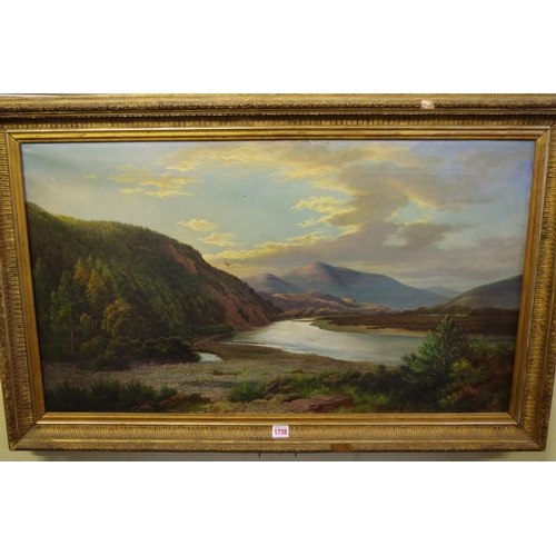 1738 - <strong>John Russell,</strong>a Scottish river scene, possibly The Spey, signed, oil on canvas...