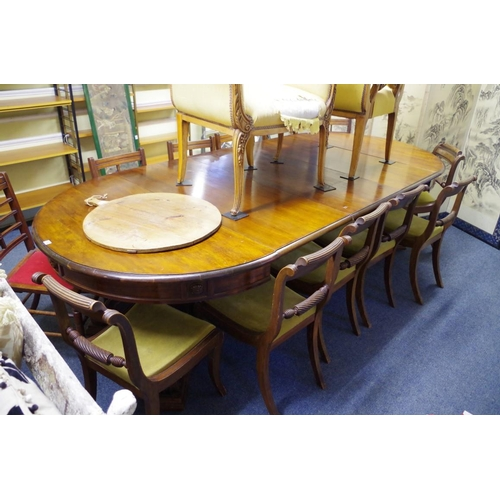 1742 - <strong>A mahogany extending dining table,</strong>with four associated leaves, 332cm extended...