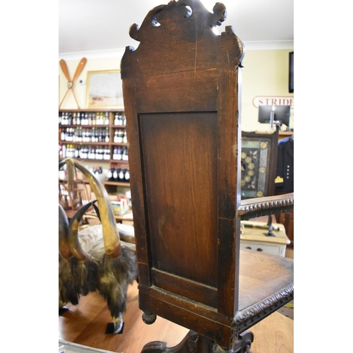 1756 - An interesting pair of 19th century continental carved caqueteuse chairs,each on tripod swivel base...