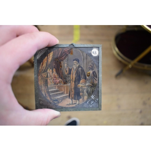 1767 - <strong>A collection of thirty-three magic lantern slides,</strong> in associated mahogany box....