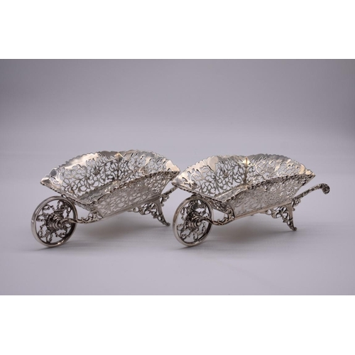 1 - <strong>A good pair of novelty pierced silver wheelbarrows,</strong> by <em>George Nathan & Ridl...