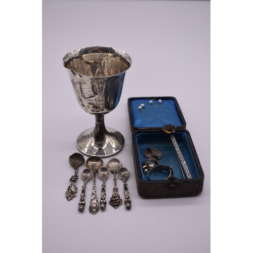102 - <strong>A small selection of silver and other items, </strong>to include: a silver mounted citrine b...