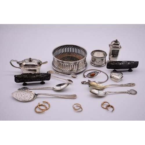 107 - <strong>A small collection of silver and other items,</strong> to include silver spoons, silver cond...