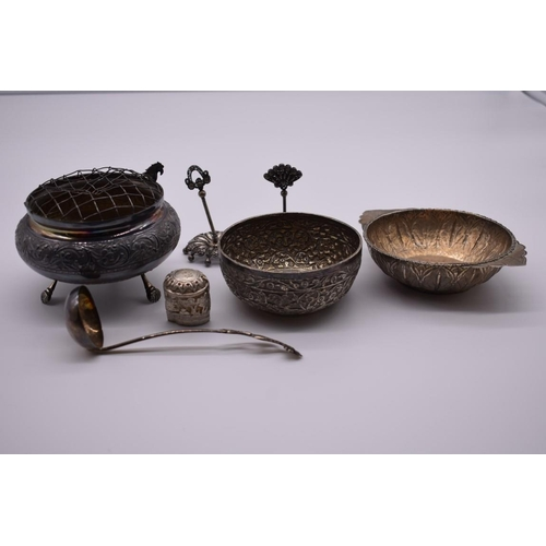 114 - <strong>A small group of Indian white metal items, </strong>to include a rose bowl and a porringer. ...