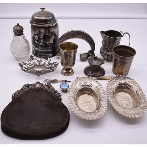130 - <strong>A collection of silver, silver mounted and white metal items,</strong> to include: an Indian...