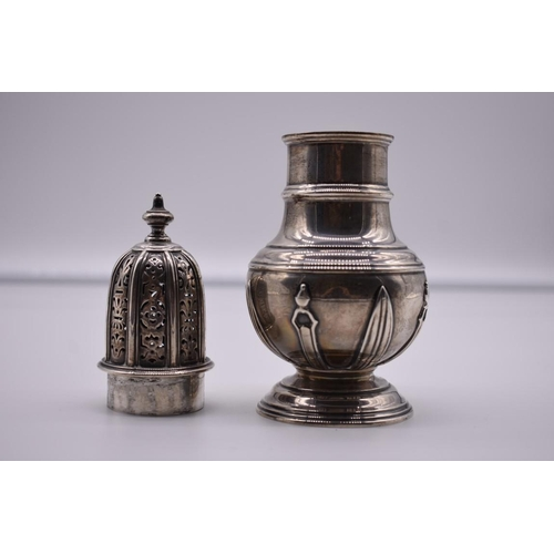 2 - <strong>A large silver caster, </strong>by <em>Robert Pringle,</em> Chester 1931, 18.5cm high, 274.5...