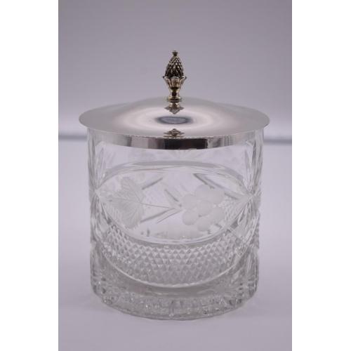 35 - <strong>A silver lidded cut glass ice pail</strong>, by <em>Asprey & Co Ltd, </em>Sheffield 1990...
