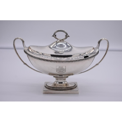 36 - <strong>A good pair of George III silver twin handled pedestal sauce tureens and covers, </stro...