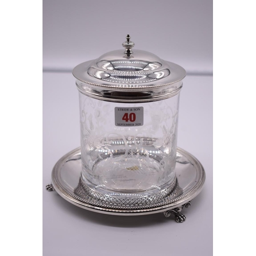 40 - <strong>An Italian silver mounted engraved glass biscuit barrel</strong>, by <em>Cassetti</em>, stam...