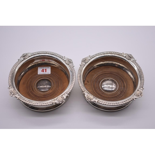 41 - <strong>A scarce pair of George III silver bottle coasters,</strong>makers mark indistinct<em>,</em...