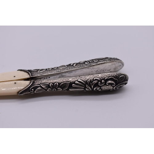 98 - <strong>A pair of Victorian silver mounted ivory glove stretchers</strong>, by <em>Charles Fox &...