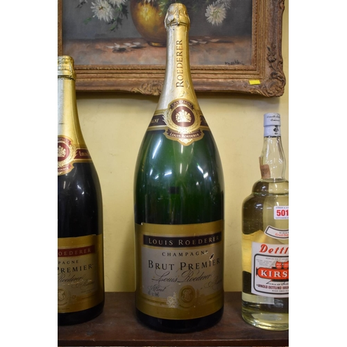 500 - <strong>Three large shop window champagne display bottles</strong>, comprising: a 12 litre Laurent P...
