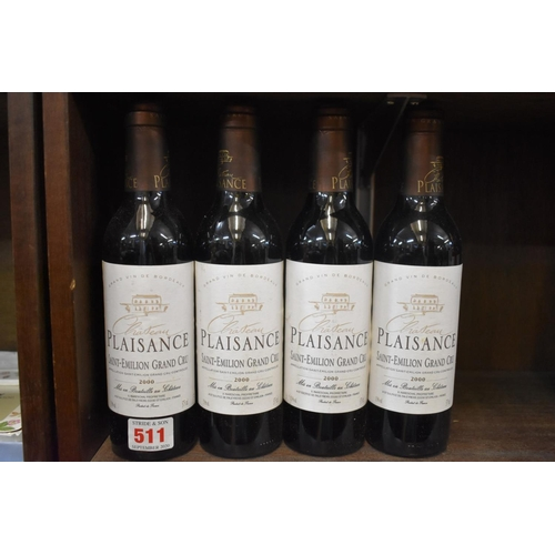 511 - <strong>Four 37.5cl bottles of Chateau Plaisance, 2000,</strong>Grand Cru St Emilion. (4)...