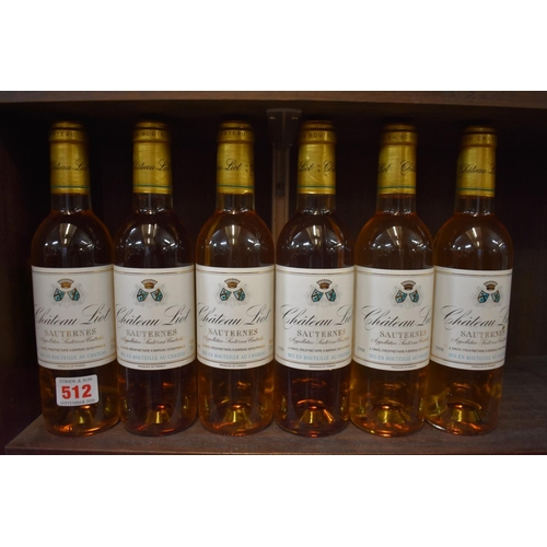 512 - <strong>Six 37.5cl bottles of Chateau Liot, 1998,</strong> Sauternes. (6)...