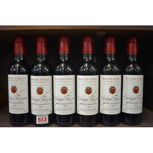 513 - <strong>Six 37.5cl bottles of Chateau Faizeau-Vieilles Vignes, 1995,</strong>Montagne St Emili...