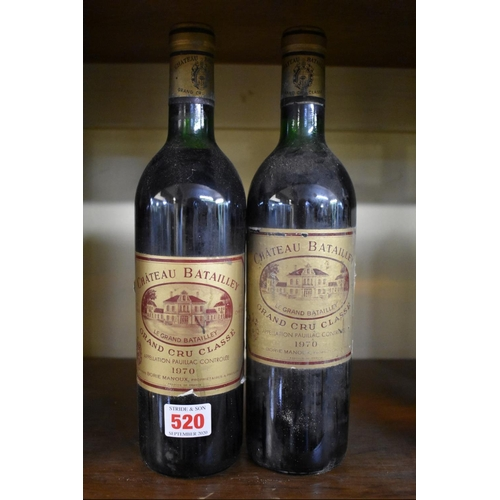 520 - <strong>Two 75cl bottles of Chateau Batailley, 1970, </strong>5th Paulliac. (2)...
