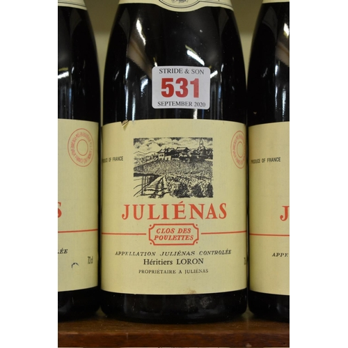 531 - <strong>Three 75cl bottles of Julienas Clos des Poulettes, 1976,</strong> Ets Loron. (3)...