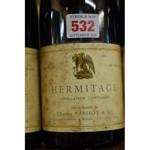 532 - <strong>Three 75cl bottles of Hermitage, 1974,</strong>Parisot. (3)...