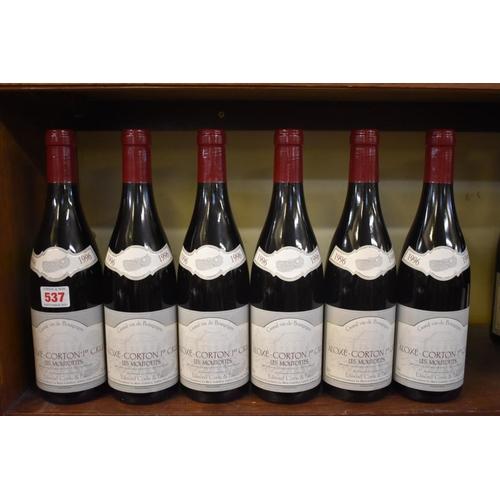 537 - <strong>Six 75cl bottles of Aloxe Corton Les Moutottes, 1996,</strong>Edmond Cornu. (6)<br /><...