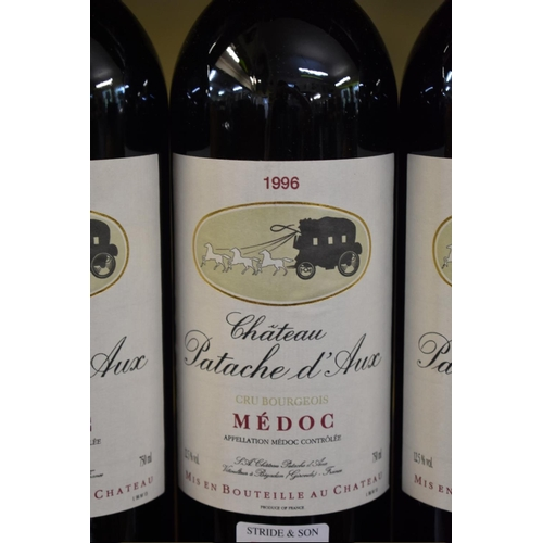 540 - <strong>Three bottles of Chateau Patache d'Aux, 1996,</strong>Cru Bourgeois Medoc. (3)...