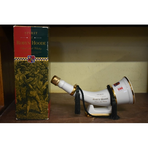 596 - <strong>A 75cl decanter of Spirit of Robyn Hoode whisky</strong>, in Wade hunting horn, with stand, ...