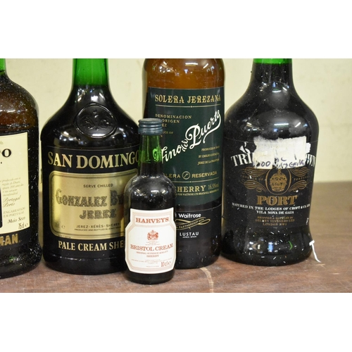 600 - <strong>Six various bottles of port and sherry</strong>, and a 10cl miniature bottle. (7)...