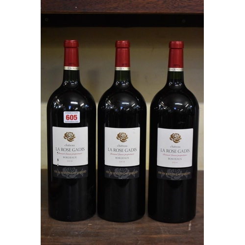 605 - <strong>Three 150cl magnum bottles of Chateau La Rose Gadis, 2016,</strong> Bernard Lasnier. (3)...