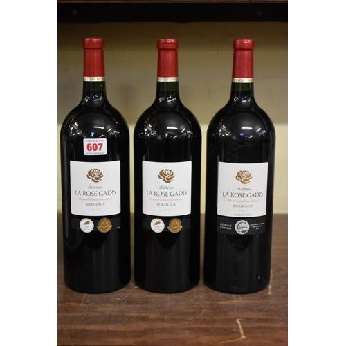 607 - <strong>Three 150cl magnum bottles of Chateau La Rose Gadis,</strong> Bernard Lasnier, comprising: o...