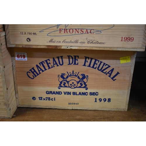 619 - <strong>A case of twelve 75cl bottles of Chateau de Fieuzal Blanc, 1998,</strong>Pessac-Leogna...