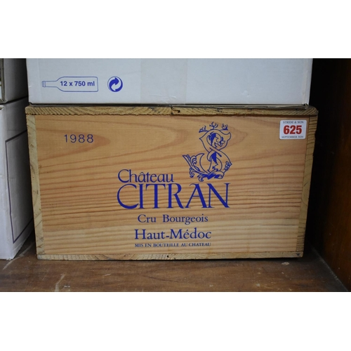 625 - <strong>A case of twelve 75cl bottles of Chateau Citran, 1988,</strong>Cru Bourgeois Haut-Medo...