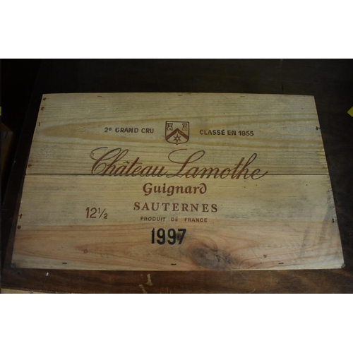 629 - <strong>A case of twelve 37.5cl bottles of Chateau Lamothe Guignard, 1997, </strong>2nd Sautern...