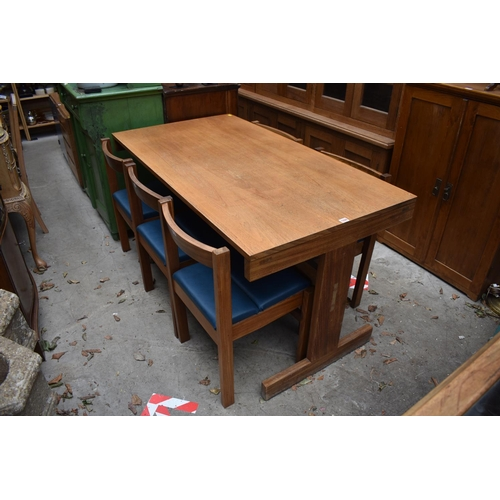 1004 - A mid-century style teak dining table and five chairs, labelled 'Pedley, Saffron Walden', the table ...