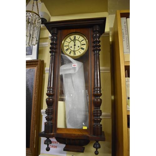 1000a - A Vienna style walnut and beech eight day striking wall clock, by Gustav Becker, 93cm high.<strong>...
